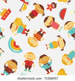 Children seamless vector pattern