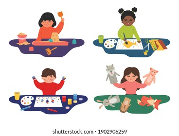 Children sensory, motor skills, creativity and imagination development playing concept. Set from kids play with sand, show puppet theatre, paint with finger paints and cut paper.