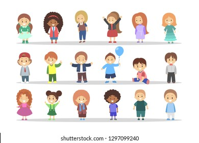 Children set. Girl and boy standing and smiling. Group of kids in different position. Vector illustration in cartoon style