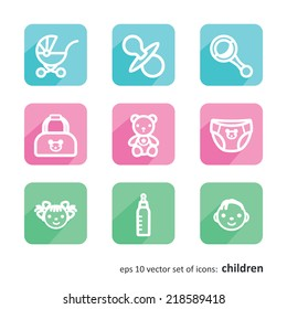Children. Set of icons. A vector.