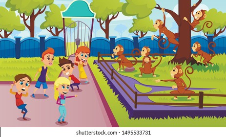 Children Show Grimaces to Monkeys. Curious Monkeys in Aviary. Animals in Aviary. Vector illustration. Excursion to Zoo. Informative Day. Animals in Captivity. Laughing Children and Surprised Monkey.