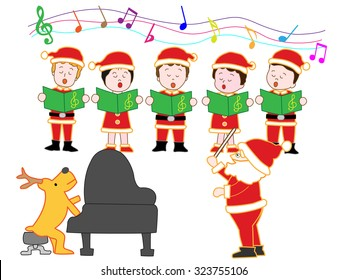 Children showing a chorus in Christmas concert