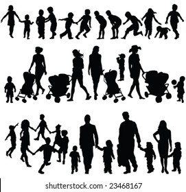 children silhouette collection - vector