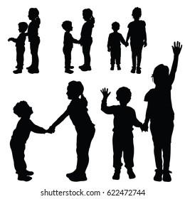 children silhouette happy and cute art illustration
