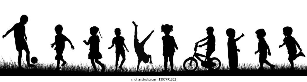 Children silhouette playing in the park, vector illustration