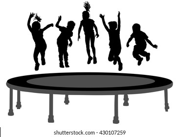 Children silhouettes jumping on garden trampoline vector illustration. Happy girls and boys jumping on trampoline. Kids fun outdoor. Enjoy smiling scene, friends birthday celebrating. put your hands.
