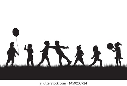 Children silhouettes in nature. Vector.