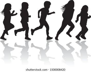 Children silhouettes running. Vector silhouette.