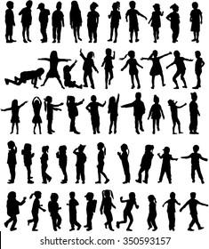 Children silhouettes. Vector work