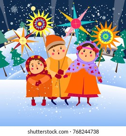 Children sing.  Children congratulate with Christmas, carols.Christmas card.Vector illustration.