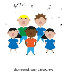 Children sing songs in the choir. Children's books.Flat picture with children. Vector.