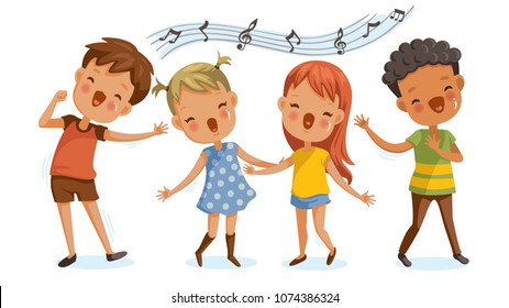 Children singing. boys and girls singing together happily. cute cartoon Enjoy the rhythm. Have fun in childhood.Cute Cartoon Character Personality. Vector illustrations Isolated on white background.