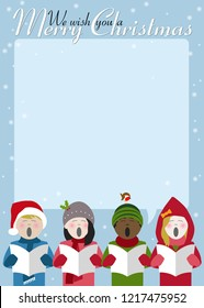 children singing Christmas carols with room for text