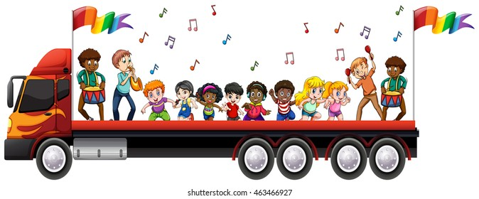Children singing and dancing on the truck illustration