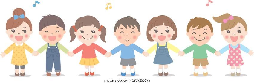 Children singing hand in hand