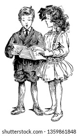 Children Singing & Holding Chorus Book where a boy and girl holding a chorus book and singing, vintage line drawing or engraving illustration.