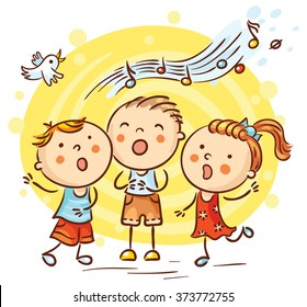 Children singing songs, colorful cartoon