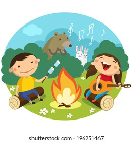 Children sit on the lawn around the campfire and sing songs