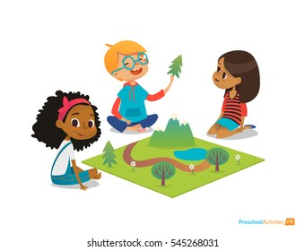 Children sitting on floor explore toy landscape, mountains, plants, and trees. Playing and educational activity in kindergarten. Preschool environmental education concept. Cartoon vector illustration.
