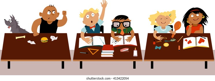 Children sitting at their desks in a classroom, a bully making a threatening gesture towards his classmate, EPS 8 vector illustration, no transparencies