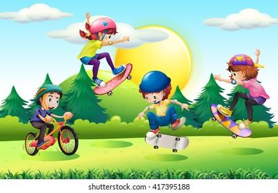 Children skateboarding and riding bike in park illustration