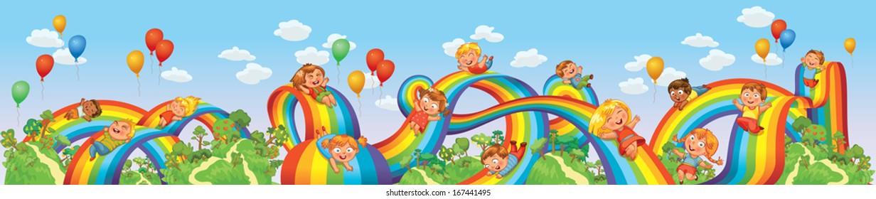 Children slide down on a rainbow. Roller coaster ride. Vector illustration. Seamless panorama