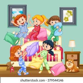 Children at the slumber party illustration