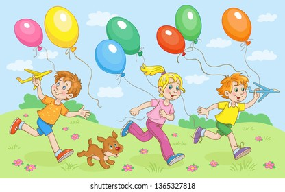 Children and small dog run with colorful balloons on a warm summer day. In cartoon style. Vector illustration.