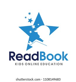 Children Smart reading logo Vector