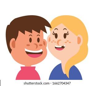 children smiling on white background vector illustration design