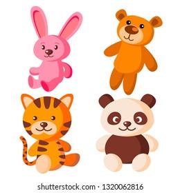 Children Soft Toys Vector. Bear, Tiger, Hare, Panda. Isolated Flat Cartoon Illustration