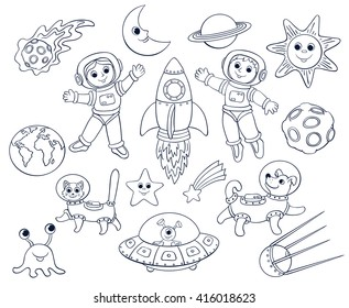 Children in the space. Cartoon vector line-art set. Isolated on white.