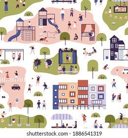 Children spending time at kindergarten seamless pattern. Funny kids and parents enjoying outdoor activities, walking, playing at playground and communicating to each other vector flat illustration