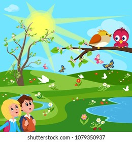 Children in spring trip.Vector illustration
