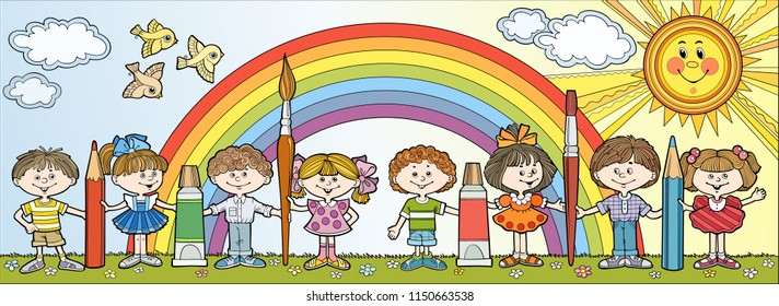 Children stand in a row and hold brushes and pencils On the background of the rainbow. Hand drawn vector cartoon illustration