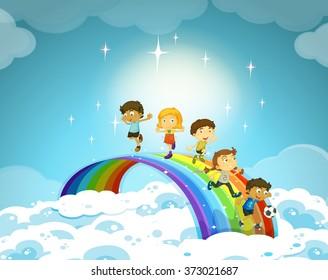 Children standing over the rainbow illustration