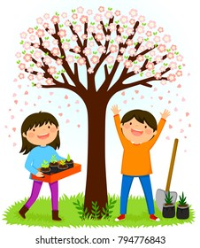 Children standing under a blooming tree preparing to plant saplings for Tu Bishvat