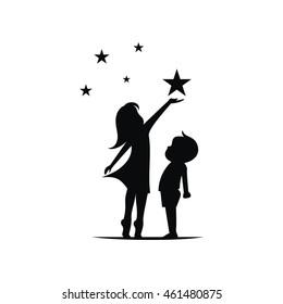 Kinder mit Stern-Silhouette-Vektorgrafik
