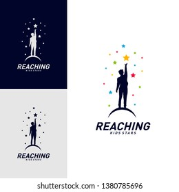 Children Stars Logo Design Concept. Reaching Dream star logo. Colorful, Creative Symbol, Icon