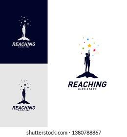 Children Stars Logo Design Concept. Reaching Dream star logo. Colorful, Creative Symbol, Icon