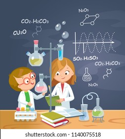 Children is studying chemistry in laboratory.  Vector illustration. Flat design.