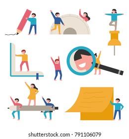 Children studying with huge school supplies. Educational concept vector illustration flat design