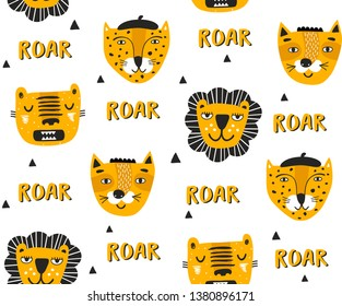 Children style seamless background with red faces of african animals. Leopard, lion, tiger and wild cat for nursery decor. Vector modern wallpaper.
