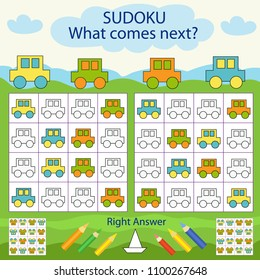 Children Sudoku for kids with colors car. Find and paint the color of the next figure. Worksheet with funny riddle entertainment. Sheet right answer. Vector activity page with game.