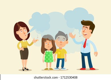 Children suffer from cigarettes smoke from smoking parents. Kids passive smokers, harm for health. Vector illustration, flat cartoon style, isolated.