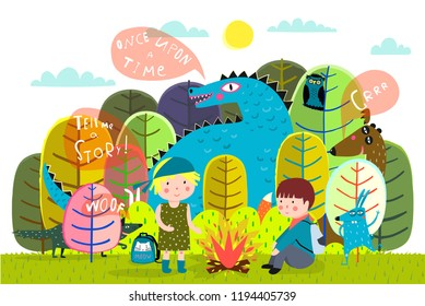 Children summer camp fire and storytelling. Magic forest kids camping with animals in the forest.