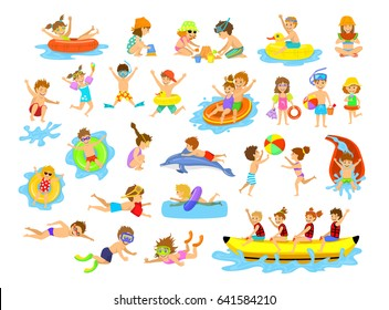 Children summer holidays fun activities at beach on water set. Boys and girls swim, dive, jump, slide in aquapark, float on inflatable mattress, make sand castle, play ball, snorkel, ride banana boat