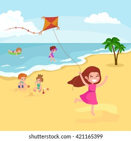 Children summertime vacation park.Kids Playing sand around water on beach,slide in sea or ocean vector illustration.Happy babies summer holiday people sunning and swimming play ball have fun vocation