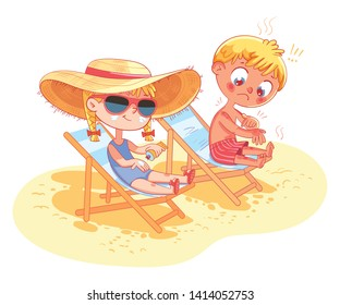 Children sunbathe on the beach on the sun loungers. Girl uses sunscreen. Boy got a sunburn and cries. Sketch of a safe holiday on the beach. Funny cartoon character. Isolated on white background