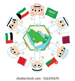Children surrounding the map of countries which belongs to Gulf Cooperation Council ( Bahrain, Kuwait, Oman, Qatar, Saudi Arabia, and the United Arab Emirates )